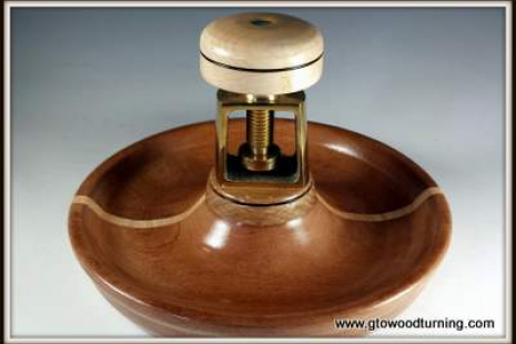 Nut Cracker Bowl, Mahogany & Maple, Brass Mechanism