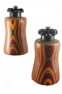 #2239 & #2240 Pair of Valve Top Pepper & Salt Mills in Dyed Birch & Butternut