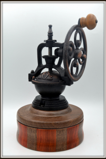 #2475 Antique Coffee Mill of Black Walnut & Redheart