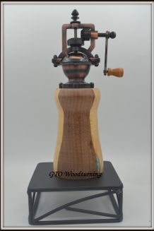 "#2#2606 ""Antique"" Pepper Mill Maple, Walnut & Genuine Turquoise"