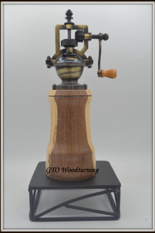 """#2607 """"Antique"""" Style Pepper Mill ~ Black Walnut & Spaulted Maple"""