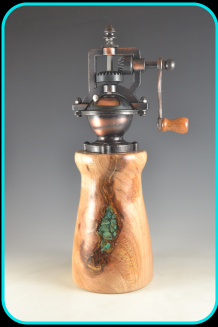 Antique Style Pepper Mill spaulted elm, woodturning, mill, elm, turquoise