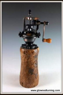 """Antique"" Style Pepper Mill in Wormy Butternut"