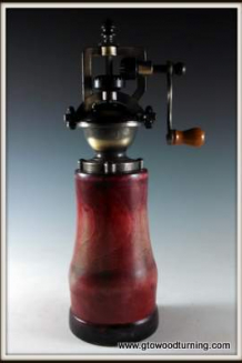 """Antique"" style Pepper Mill in Cherry with Red & Black Colorstain"