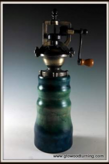 """Antique"" Style Pepper Mill with Green, Blue & Turquoise accent"