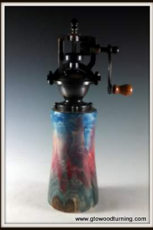 """Antique"" Style Pepper Mill turned of Arbor Vitae with Tie Dyed Colors"