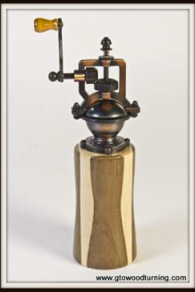 """Antique"" Style Pepper Mill in Walnut & Maple"