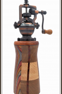 """#2376 """"Antique"""" Style Pepper Mill Multi-Woods"""