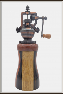 """#2377 """"Antique"""" Style Pepper Mill Multi-Wood"""