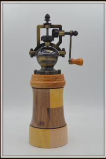 #2541 Antique Pepper Mill...Mixed wioods with Marblewood and Yellowheart
