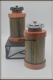 #2595 & #2596 Pepper & Salt Mills ~Dyed Birch, Brazilian Rosewood & Walnut