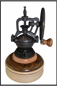 """#2075 """"Antique"""" Coffee Mill of Maple, Cherry & Bacote"""