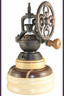 #2130 Antique Style Coffee Mill: Maple, Ash & Purpleheart